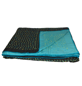 Kantha Teal and Black Stitched Throw