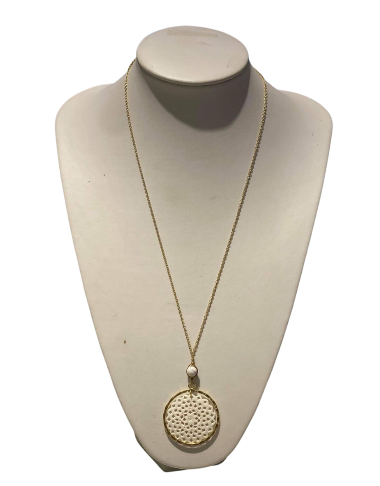 Ten Thousand Villages Necklace Round Filigree Bone/Clay Glass Bead Tassel - India