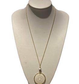 Ten Thousand Villages Necklace Round Filigree Bone/Clay Glass Bead Tassel