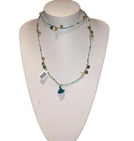 Ten Thousand Villages Necklace Glass/Metal Charm/Tassel