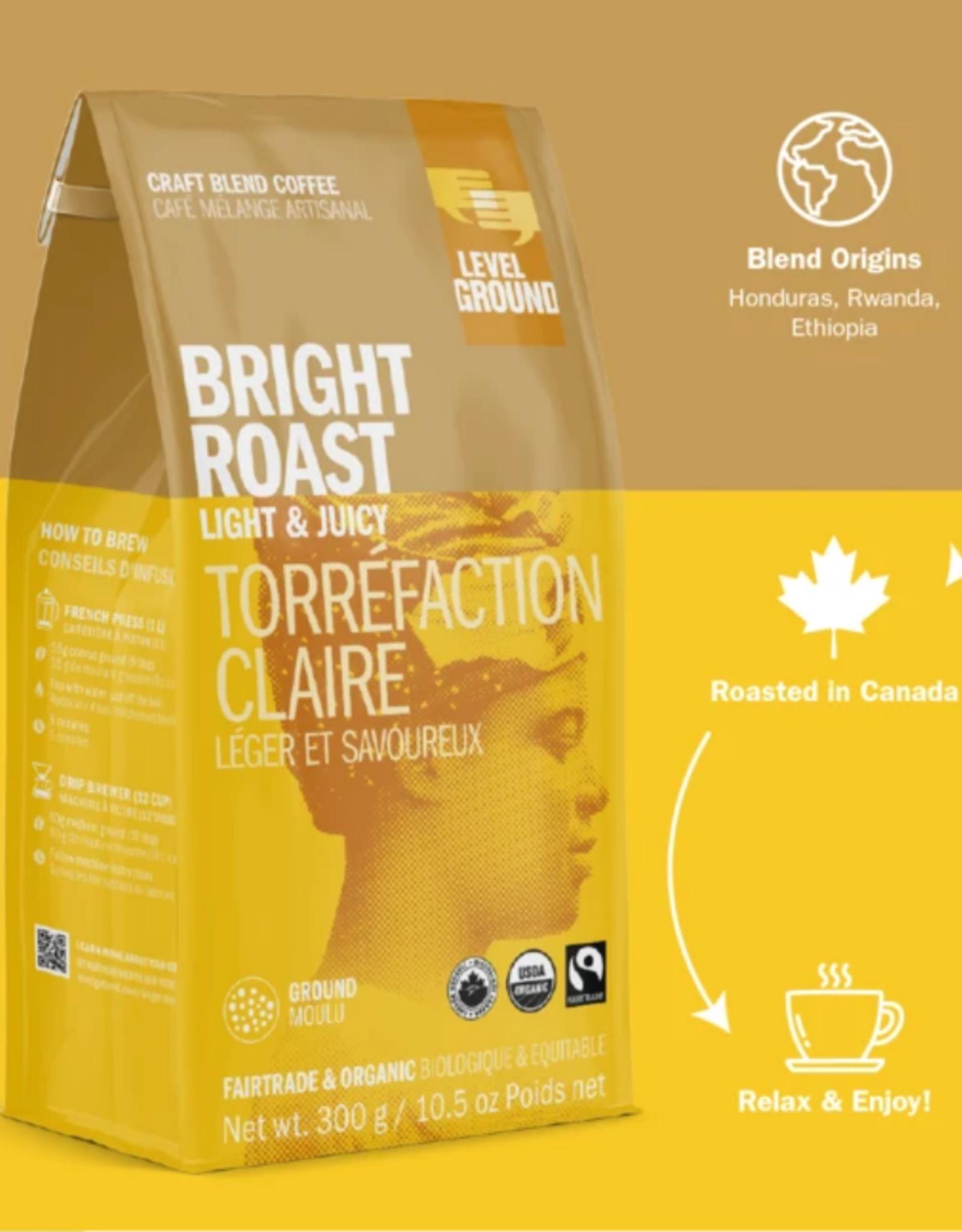 Level Ground Coffee, Bright Roast Light & Juicy, Ground 300g