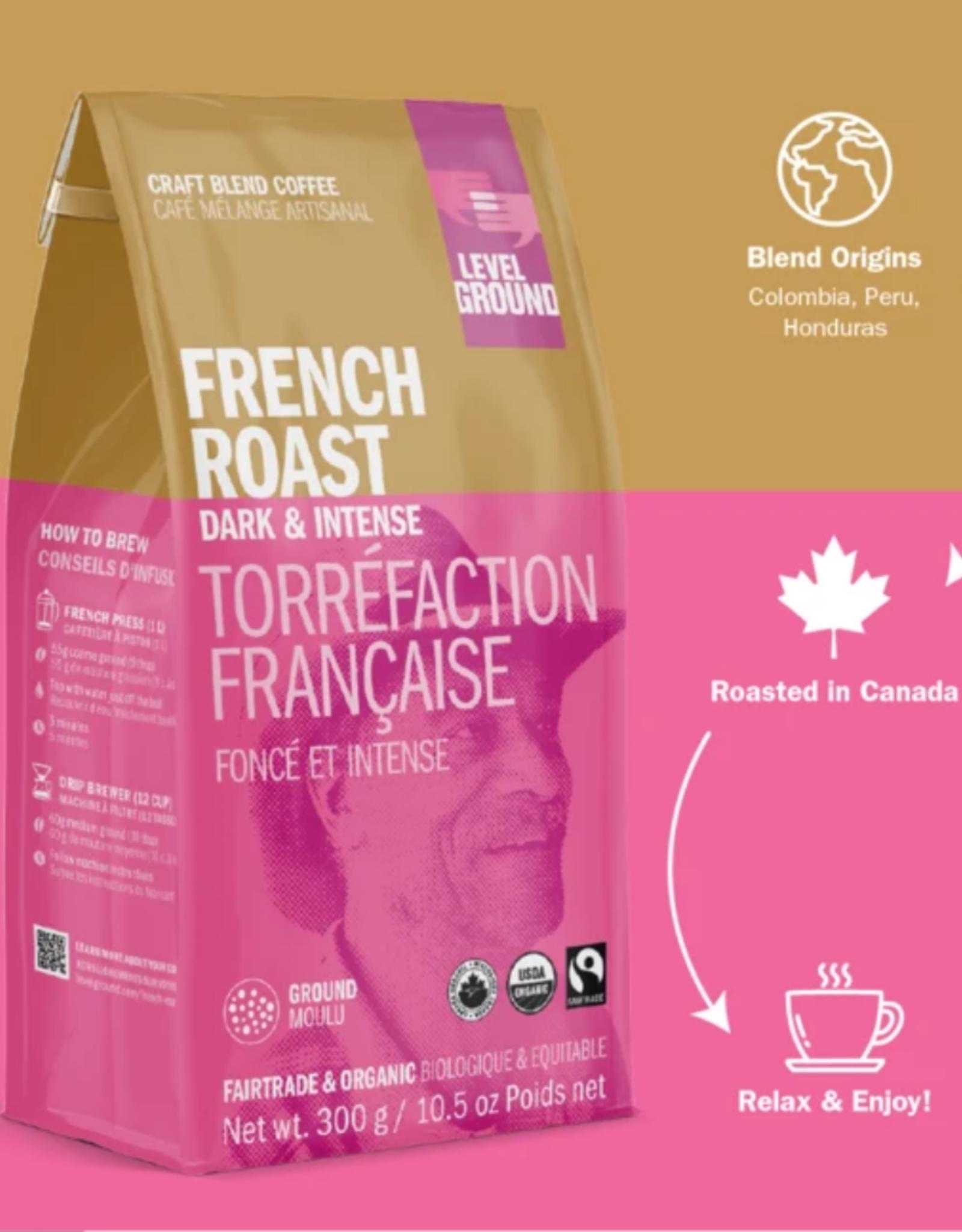 Level Ground Coffee, French Roast Dark & Intense, Bean 300g