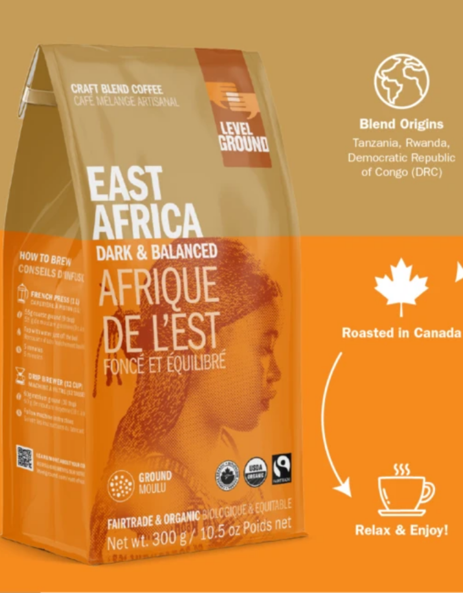 Level Ground Coffee, East Africa Dark & Balanced, Bean 300g