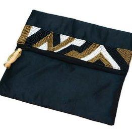 Asha Handicrafts Gold/White Satin Beaded Embellished Clutch - India