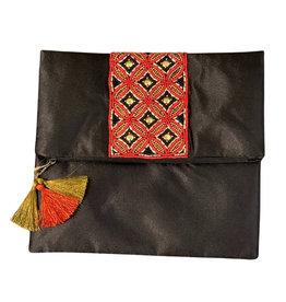 Asha Handicrafts Red Satin Bead Embellished Clutch - India