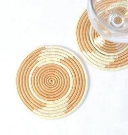 Soko Home Coasters Hand Woven Tea and White - Rwanda