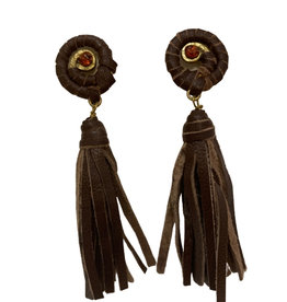 Ten Thousand Villages Earring Metal/Leather Tassel - India