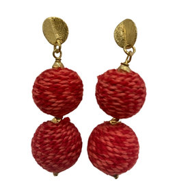 Ten Thousand Villages Earrings Double Thread Wrap Red/Gld Beads - India