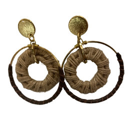 Ten Thousand Villages Earring Double Ring Jute/Leather Wrap - India