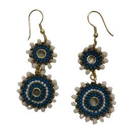 Ten Thousand Villages Earrings Double Drop Blu/Wht Bead - India