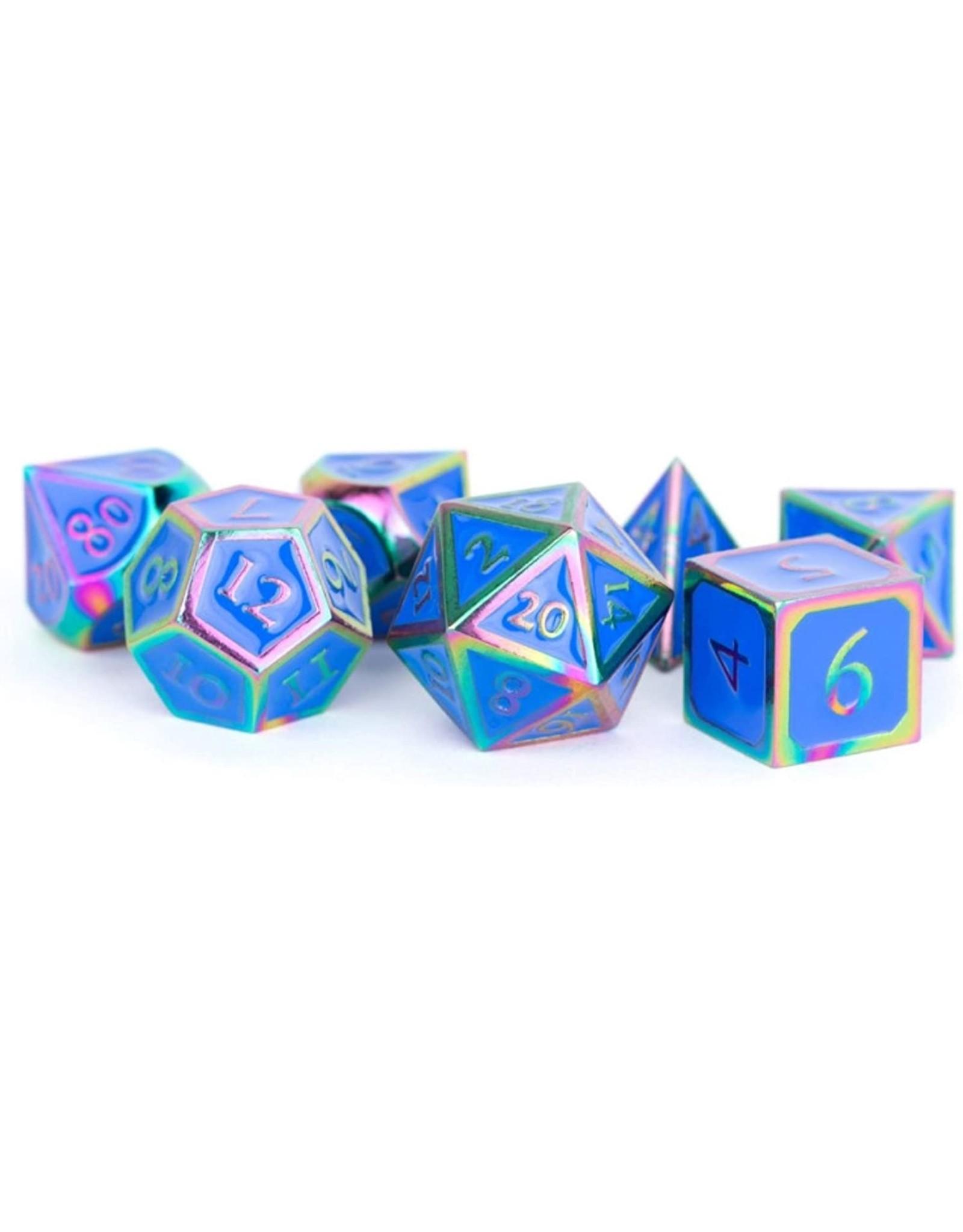 16mm Metal Polyhedral Dice Set: Rainbow with Blue Enamel