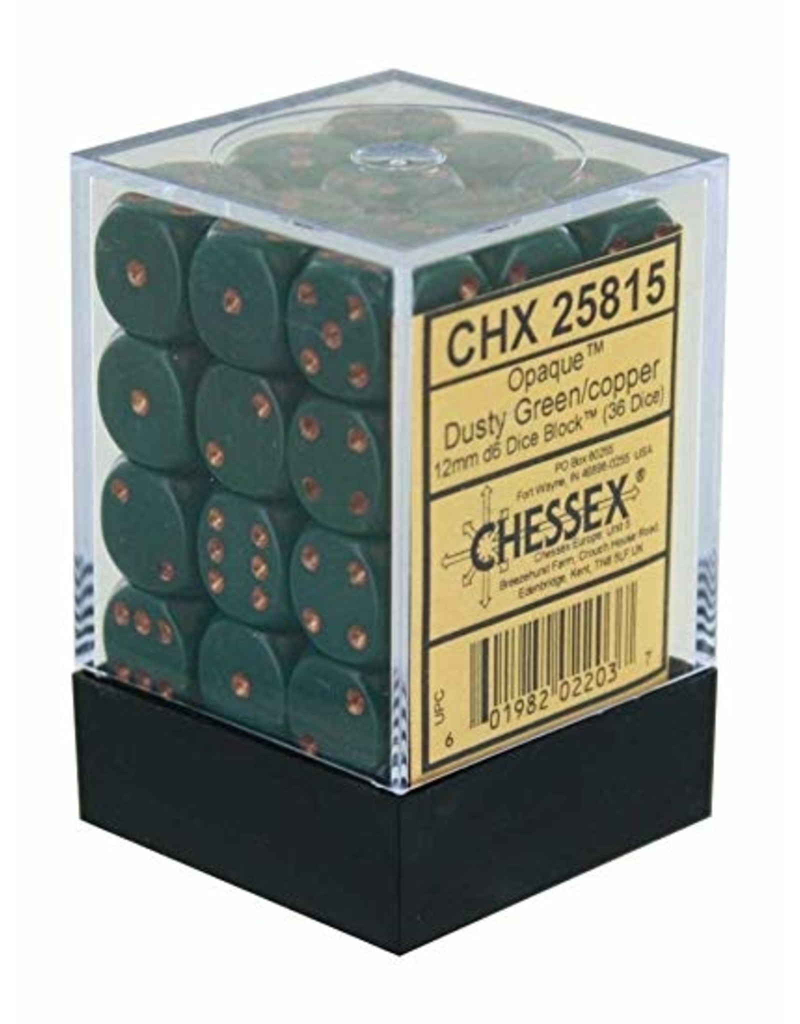 Chessex Opaque Dusty Green copper 12mm