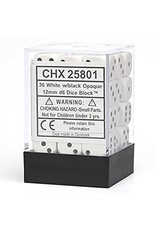 Chessex Opaque: 12mm D6 White With Black