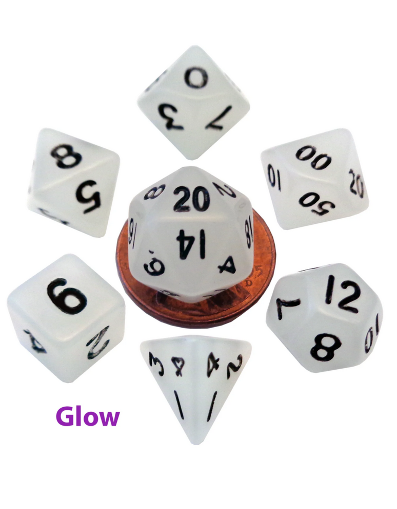Dice Mini Polyhedral Dice Set: Glow Clear with Black Numbers