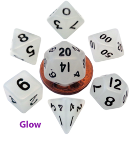 Mini Polyhedral Dice Set: Glow Clear with Black Numbers