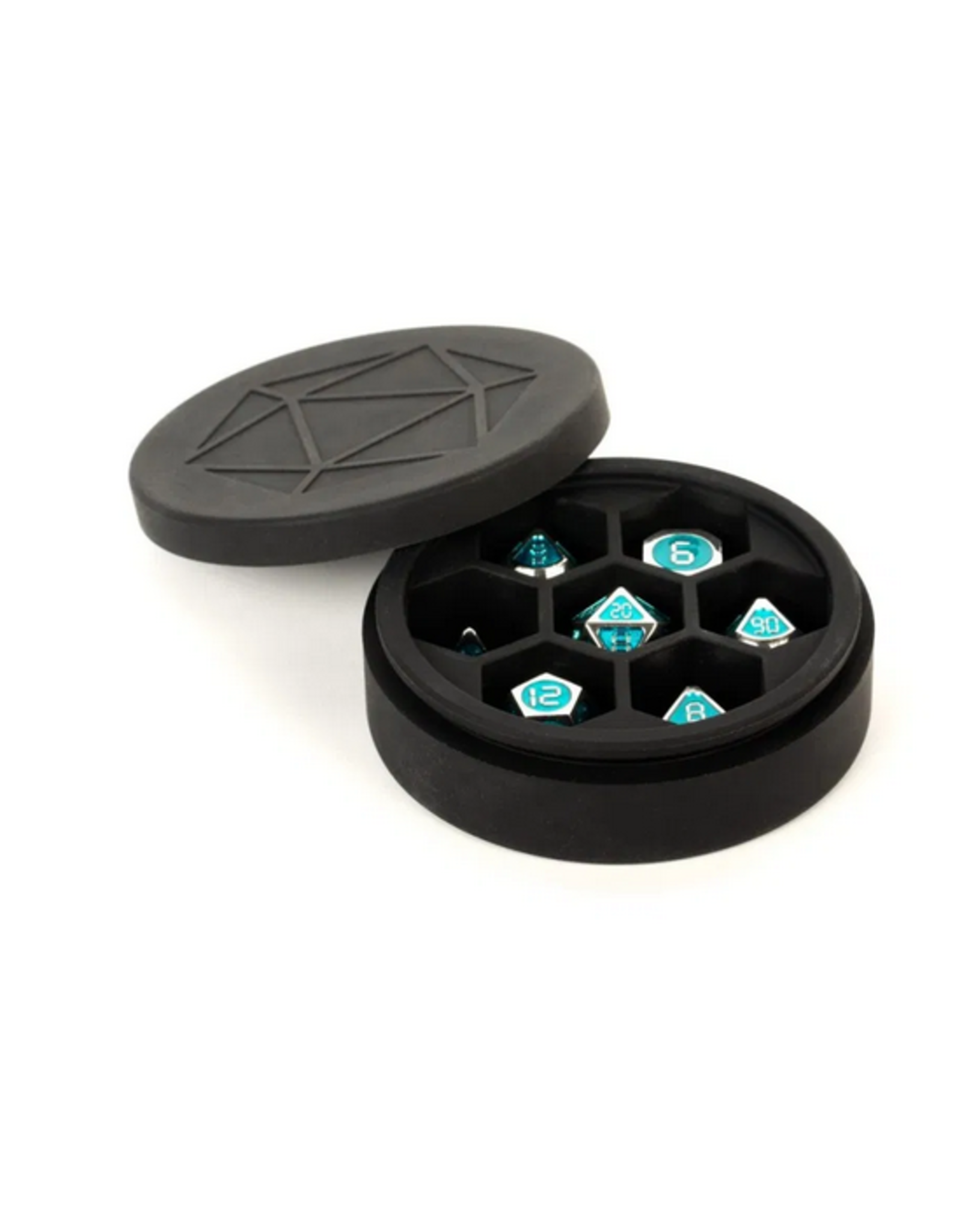 Metallic Dice Games Silicone Round Dice Case: BK