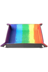 Dice Velvet Folding Dice Tray with Leather Backing 10in x 10in Rainbow
