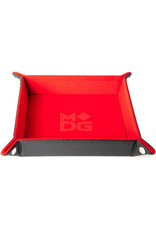 Dice Velvet Folding Dice Tray with Leather Backing 10in x 10in Red