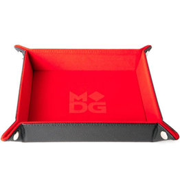 Velvet Folding Dice Tray with Leather Backing 10in x 10in Red