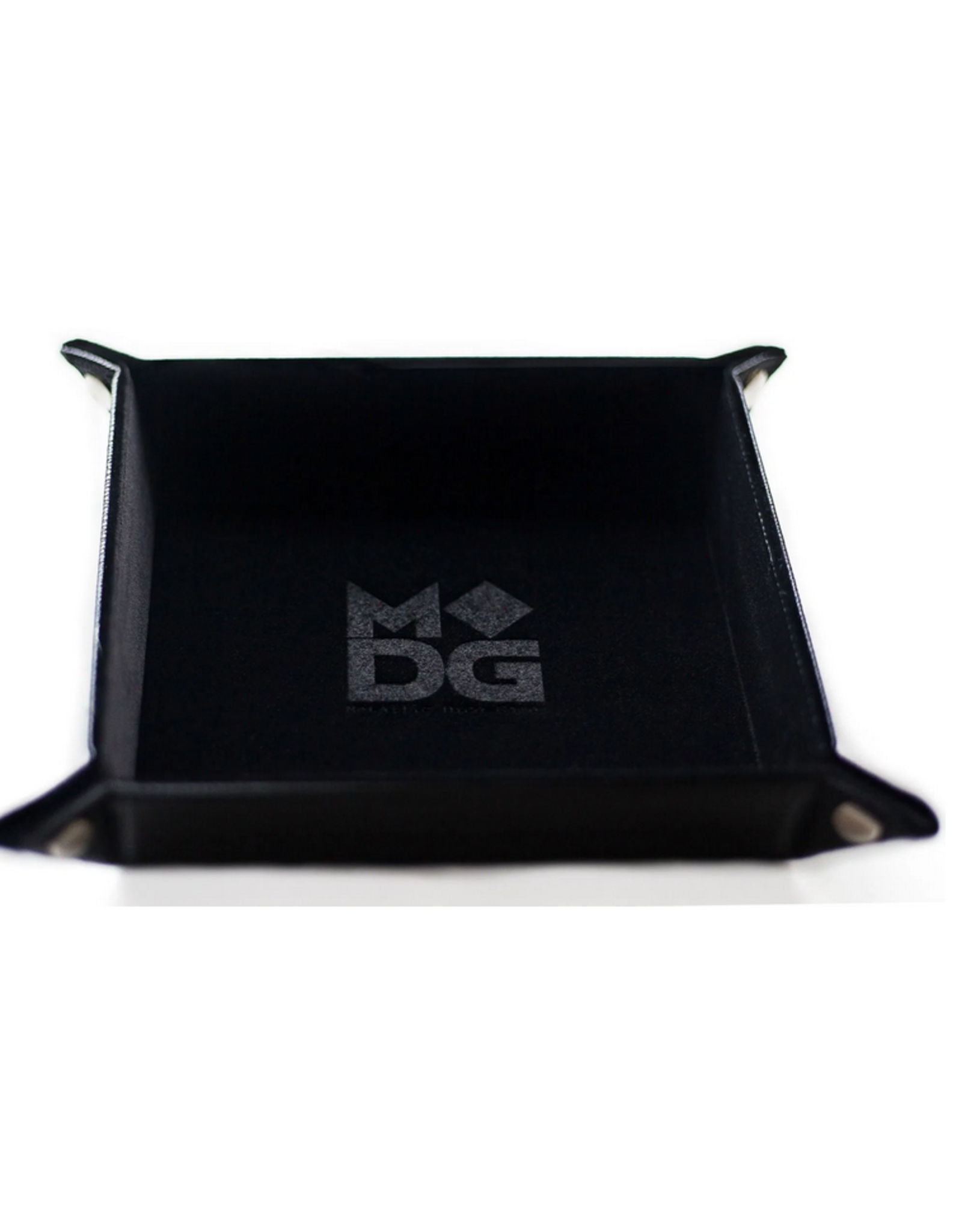 Dice Velvet Folding Dice Tray with Leather Backing 10in x 10in Black