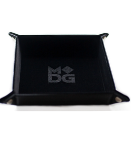 Velvet Folding Dice Tray with Leather Backing 10in x 10in Black