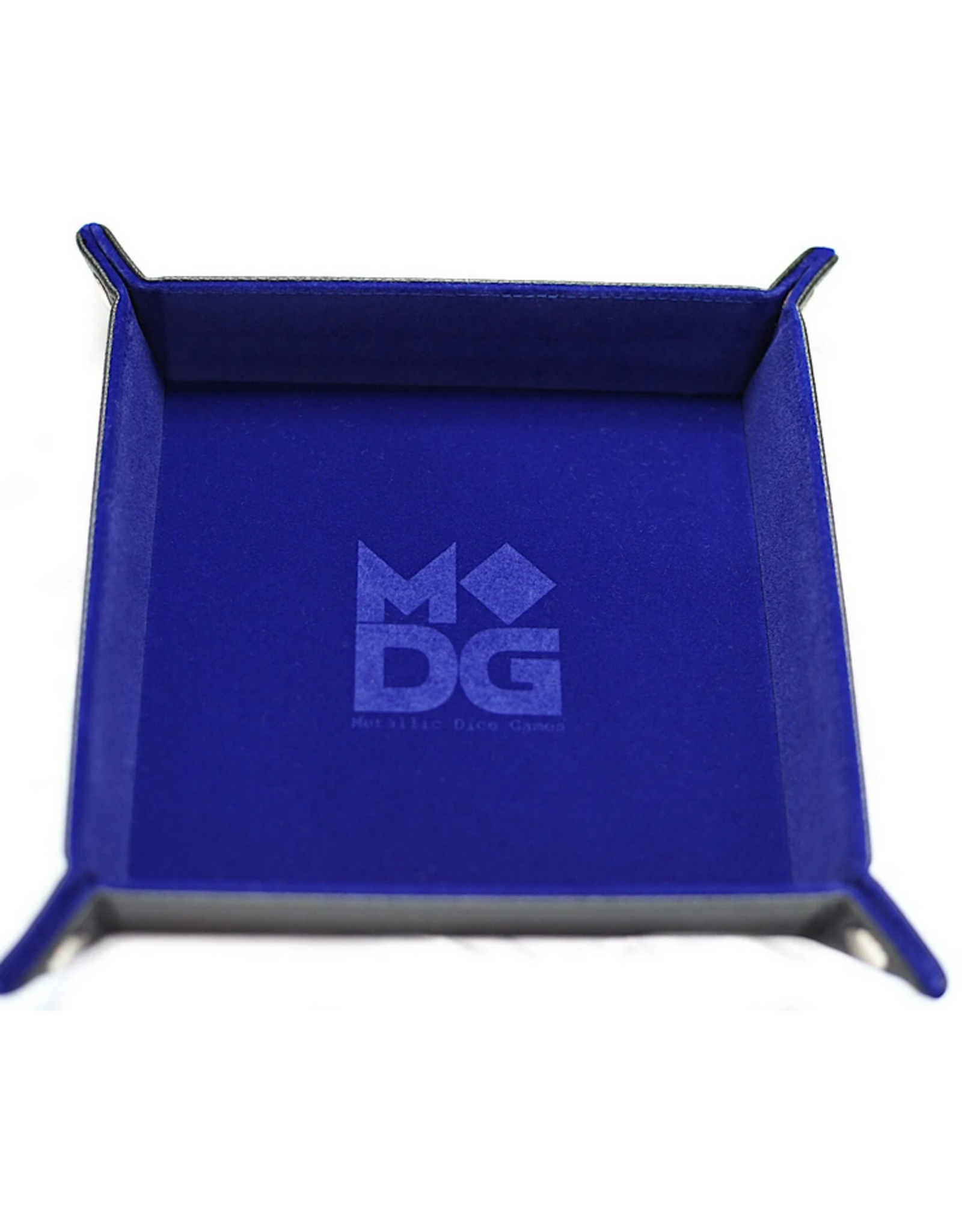 Dice Velvet Folding Dice Tray with Leather Backing 10in x 10in Blue