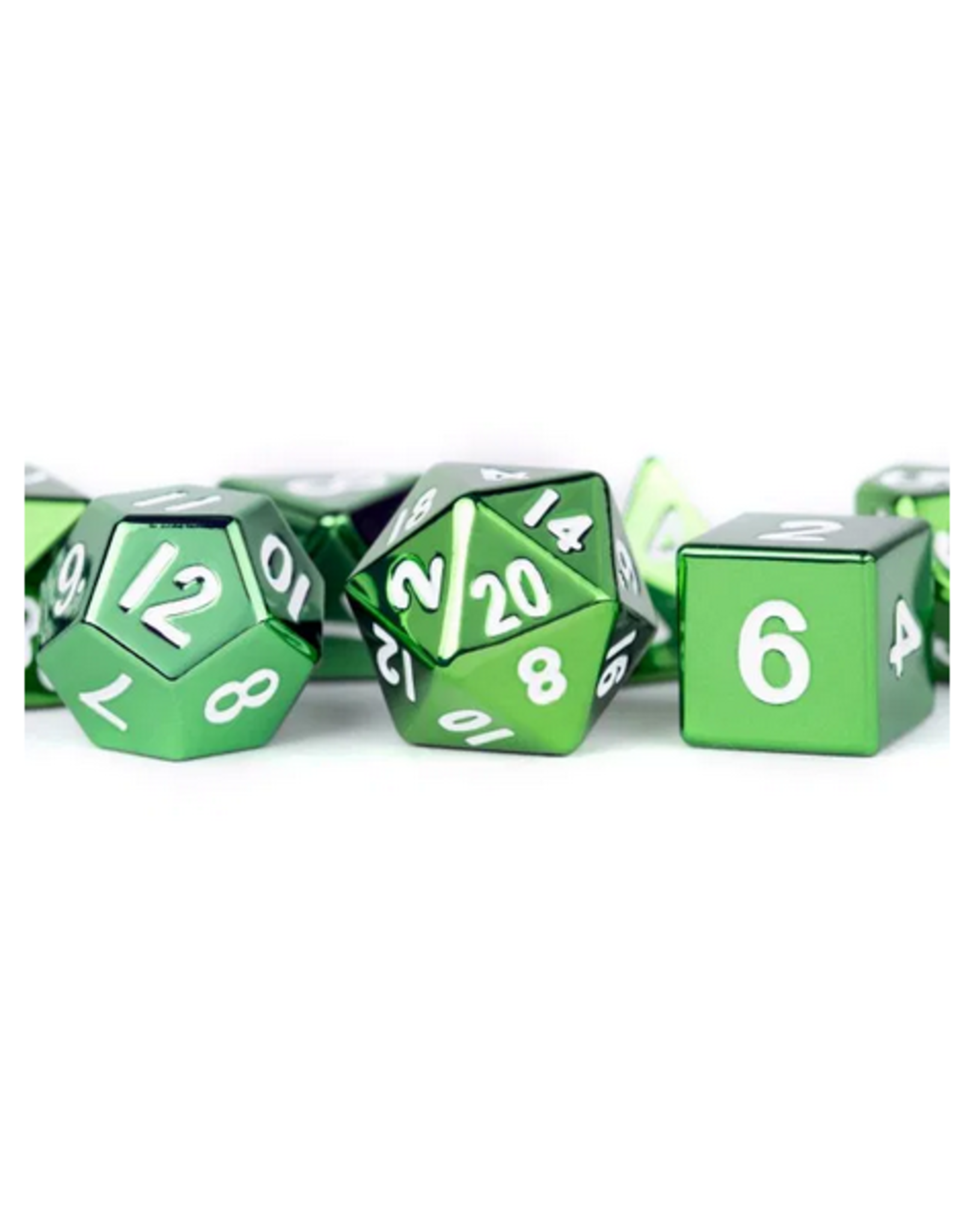 Dice 16mm Green Painted Metal Polyhedral Dice Set