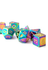 Dice 7-Set: 16mm FLame Torched Rainbow Metal
