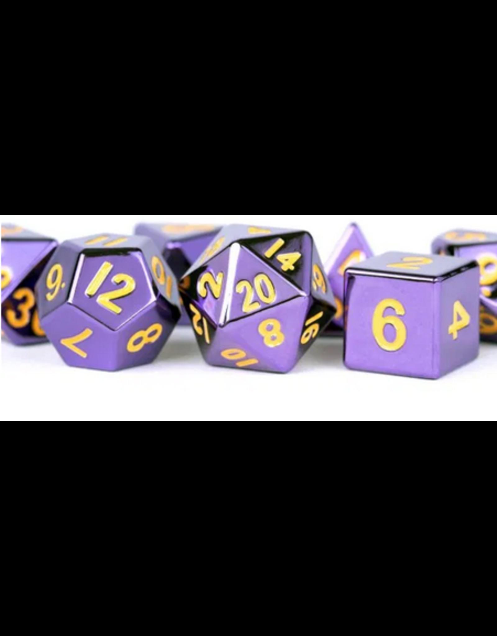 16mm Purple Painted Metal Polyhedral Dice Set