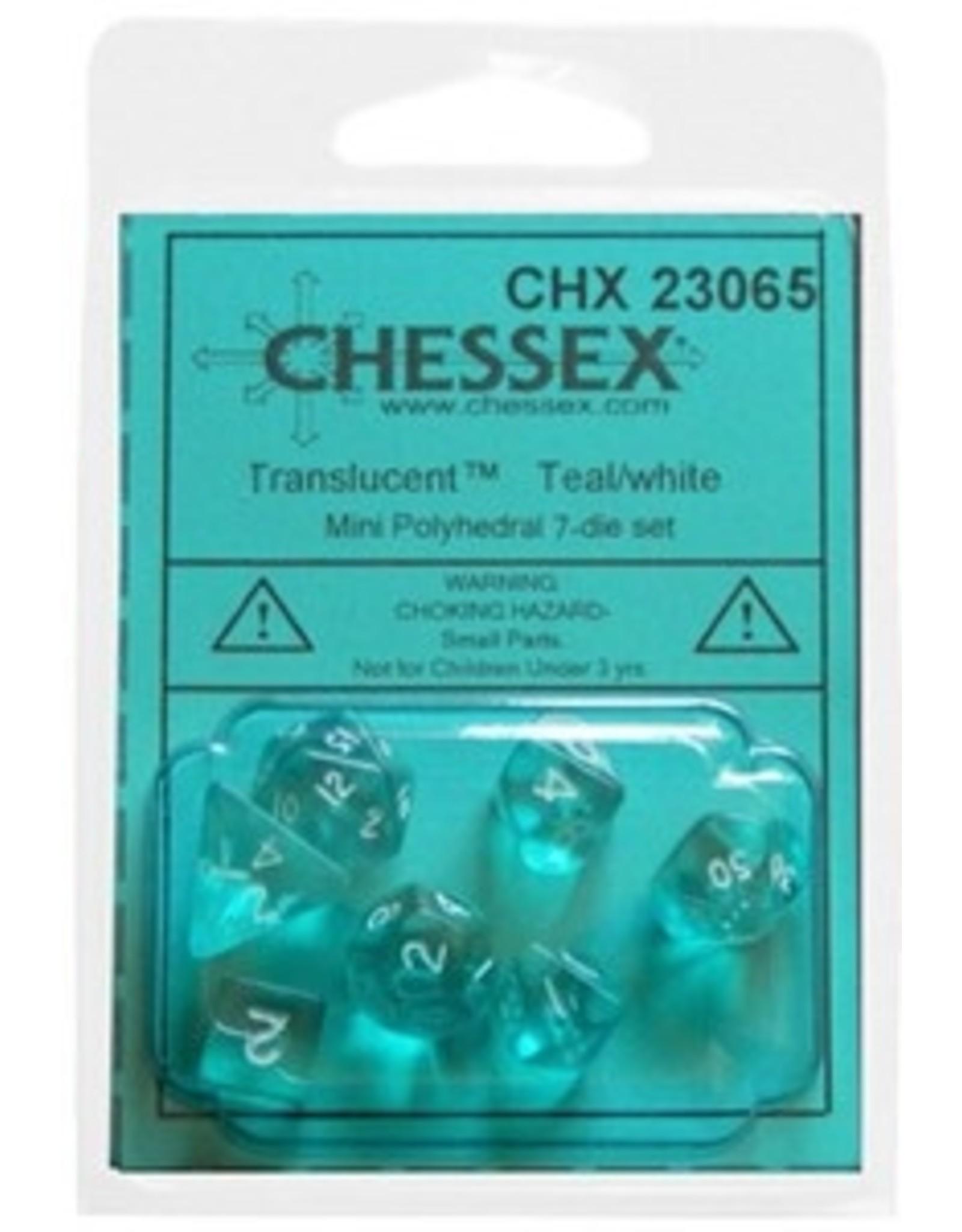 Chessex 7-Set Polyhedral Translucent Mini Teal/White Set