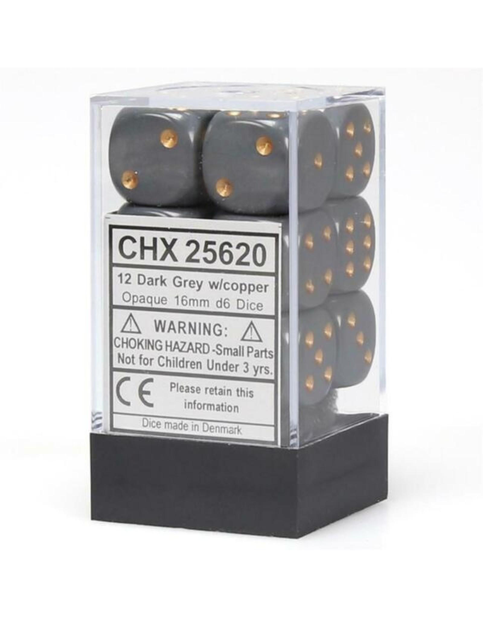 Chessex Opaque Dark Grey w/copper 16mm