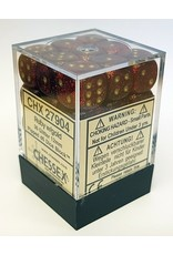 Chessex d6Cube12mm GlitterPolyhedral Rubygd (36)