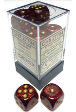 Chessex d6Cube16mm GlitterPolyhedral Rubygd (12)