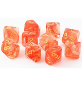 Chessex d10Clamshell Ghostly Glow ORye (10)