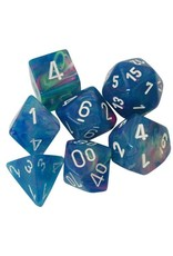 Chessex 7-Set Polyhedral Cube Festive Waterlily white numbers