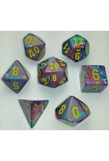 Chessex 7-Set Polyhedral Cube Festive Mosaic/Yellow
