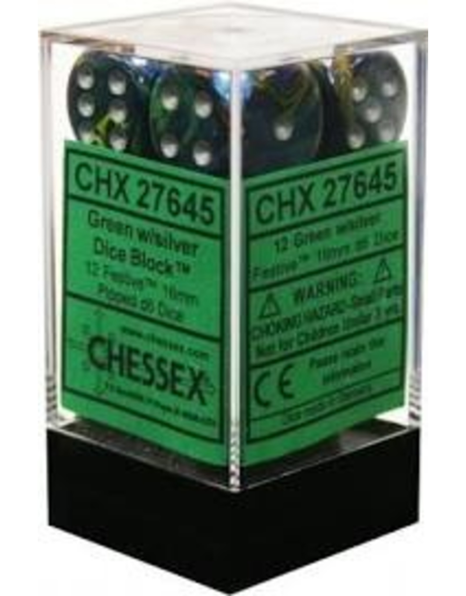 Chessex Festive Green/silver 16mm D6