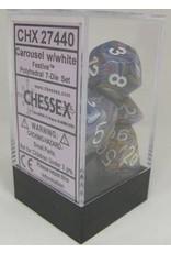 Chessex 7-Set Polyhedral Dm7 Festive Carousel/white
