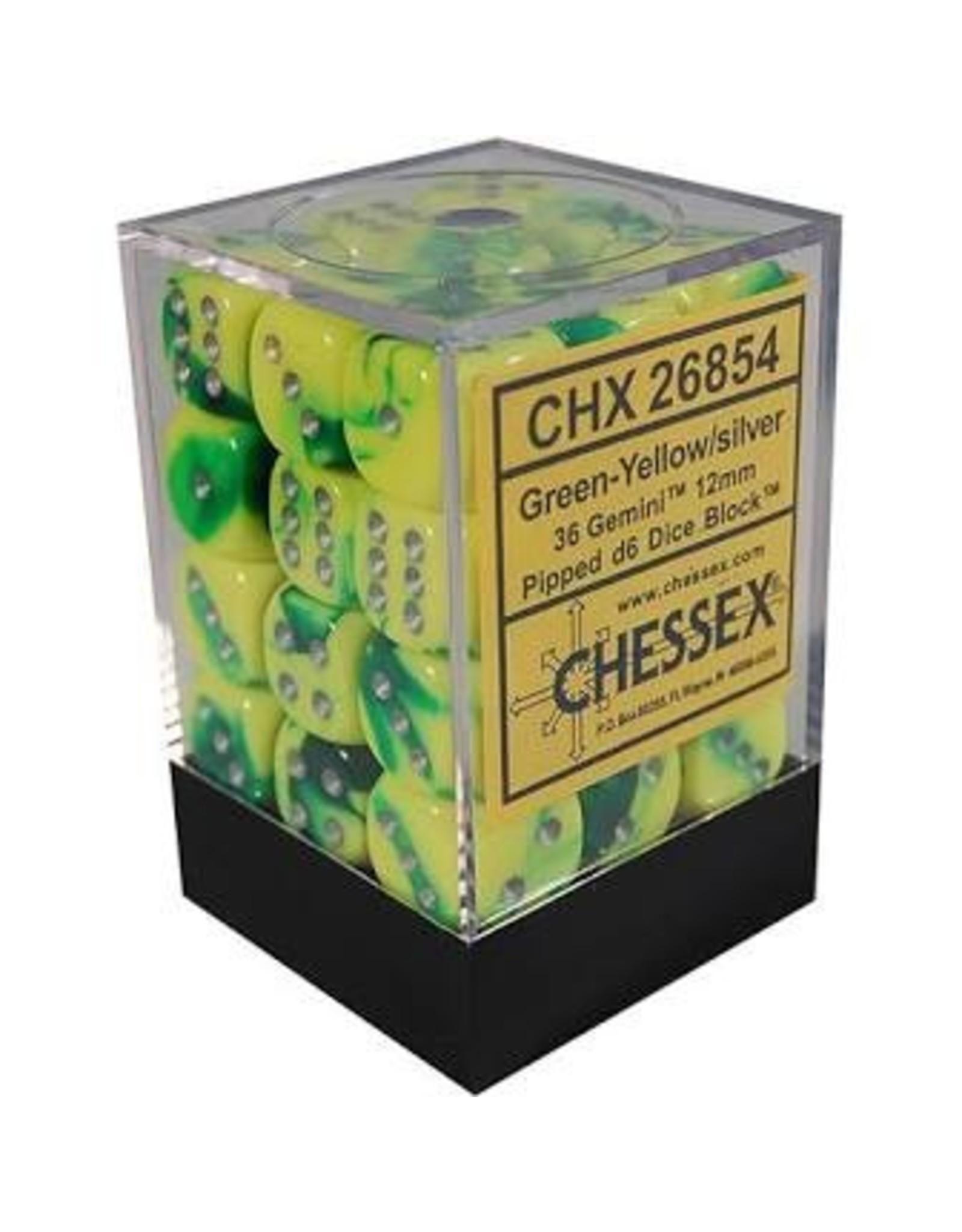 Chessex Gemini 6: 12mm D6 Green Yellow