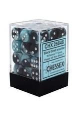 Chessex Gemini 12mm D6 BLK SHEL w/ WHT