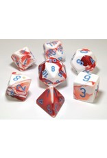 Chessex 7-Set Polyhedral Cube Lab Dice Gemini Red-White-Blue