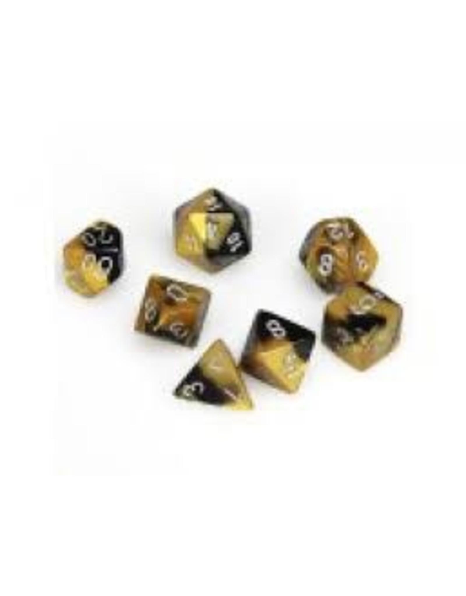 Chessex 7-Set Polyhedral Gemini 6:  Black Gold/Silv