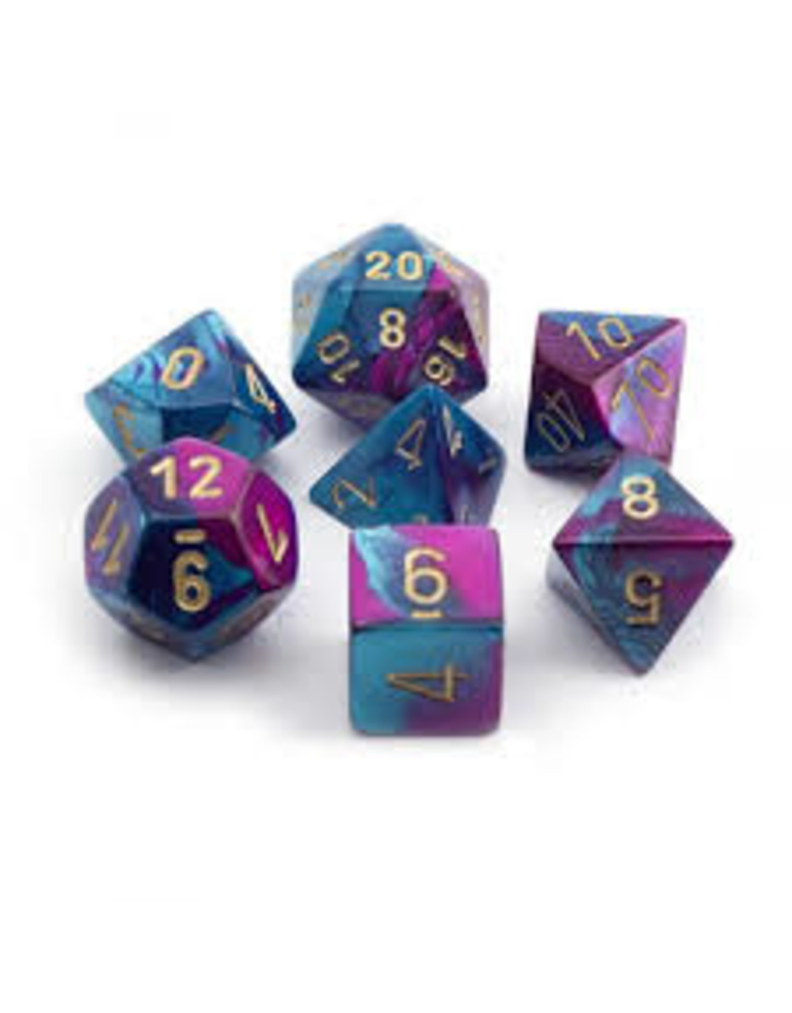 Chessex 7-Set Polyhedral Gemini 5 Purple - Teal with Gold