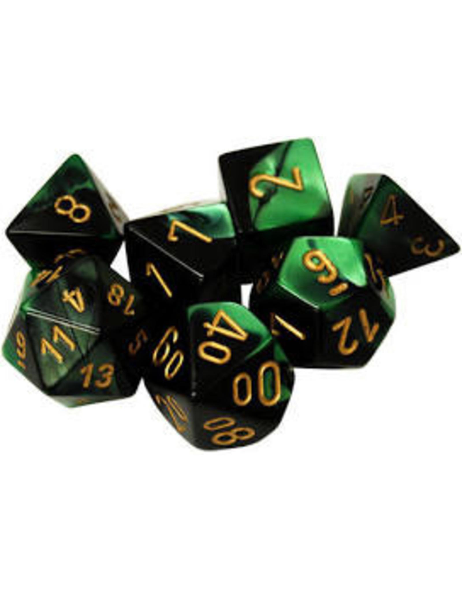Chessex Gemini 4 Poly Black Green/gold