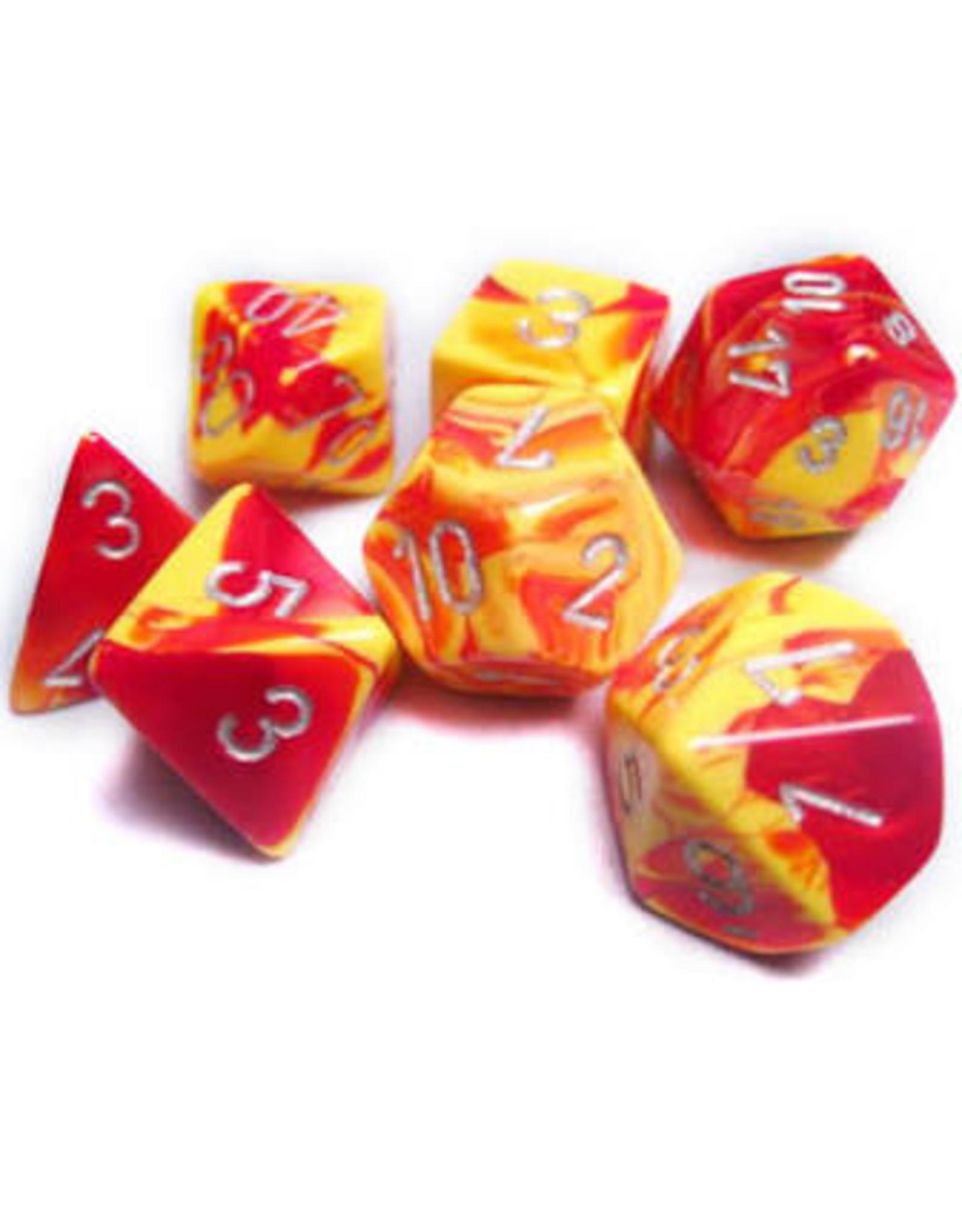 Chessex 7-Set Polyhedral Gemini 5 RED YEL w/ WHT