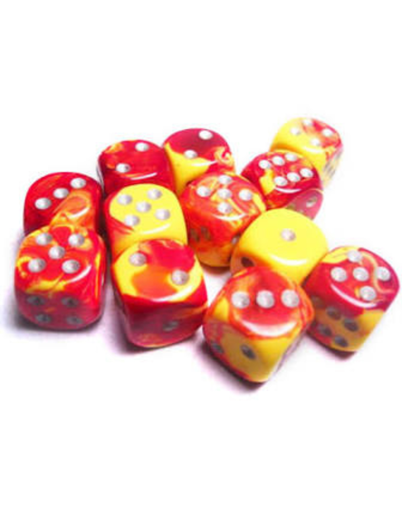 Chessex Gemini 16mm D6 RED YEL w/ WHT