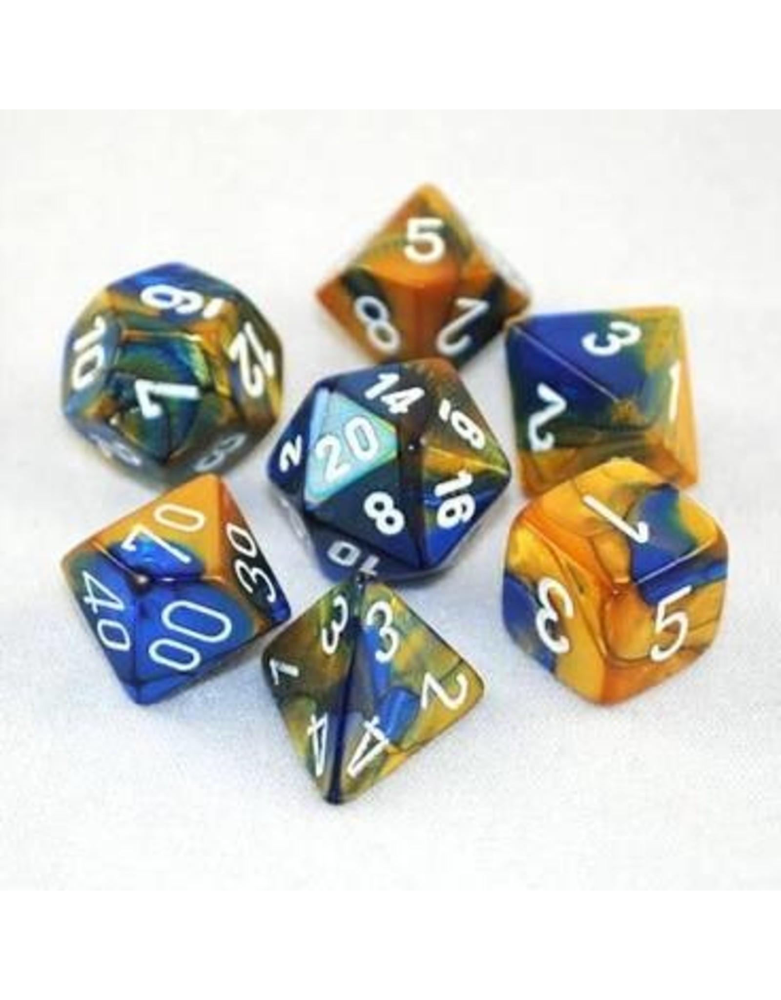 Chessex 7-Set Polyhedral Gemini Blue Gold/white