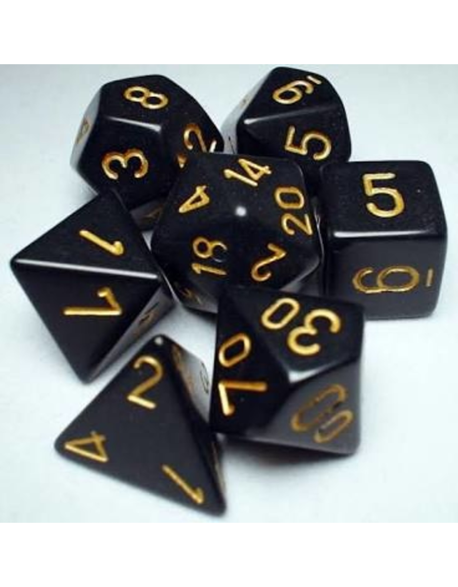Chessex 7-Set Polyhedral Opaque: Black With Gold