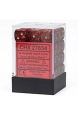 Chessex Burgandy w/gold 12mm d6 (36)
