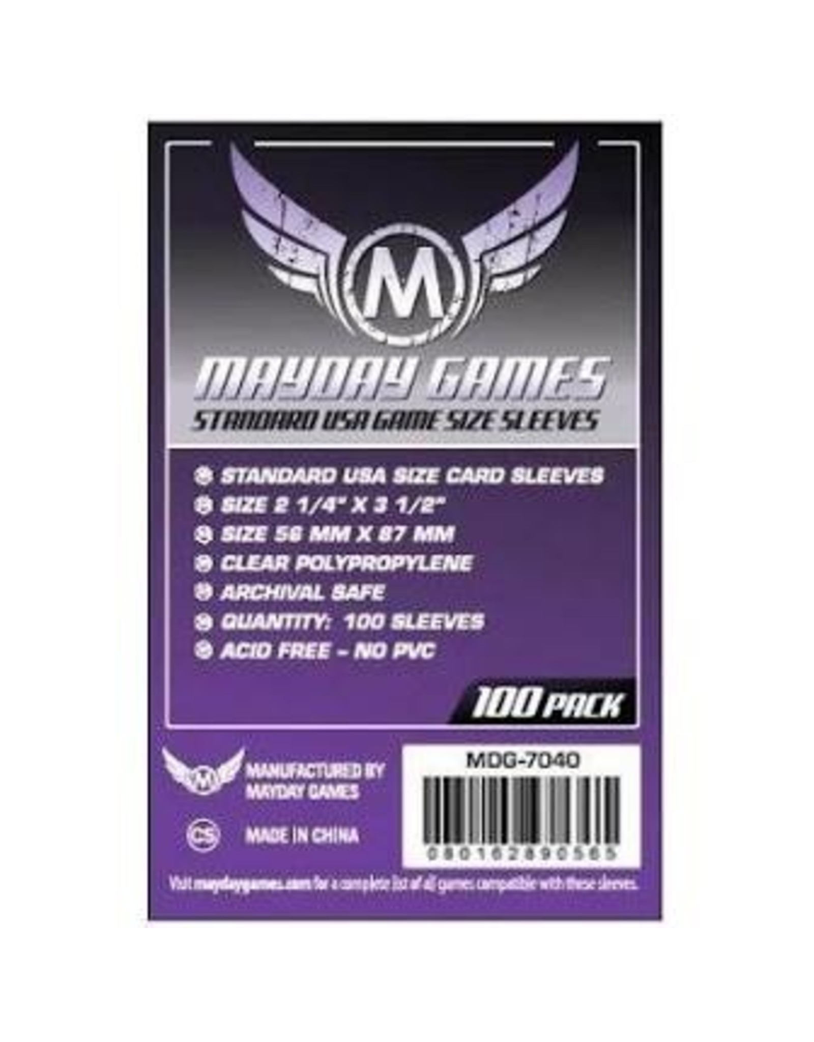 Mayday Games Mayday (Purple) Standard USA Sleeves 56mm x 87mm